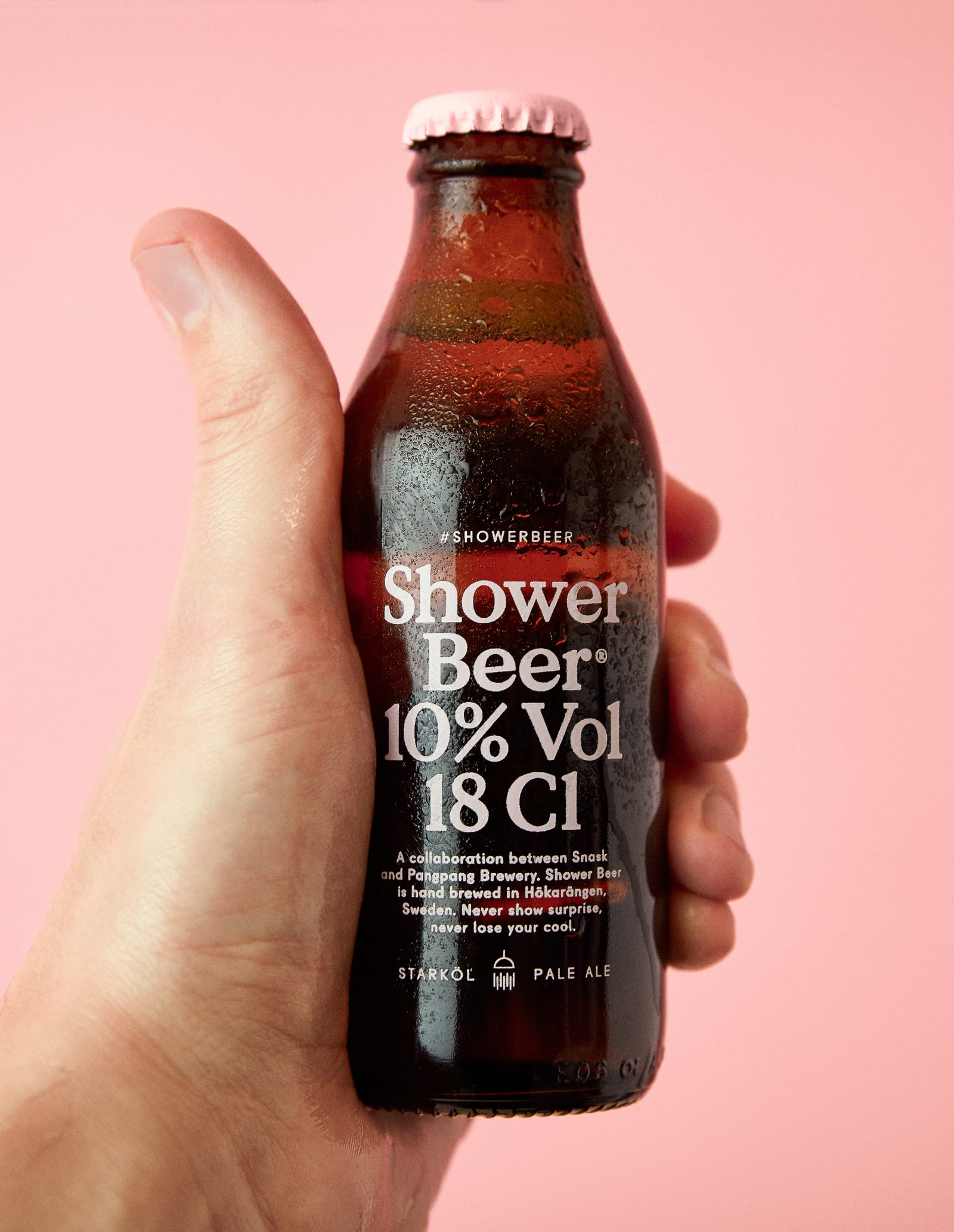 SHOWER BEER — Beer packaging design for a 18 cl small bottle meant to gulp in three sips while standing in the shower